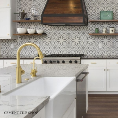 Cement Patterned Tile Kitchen Backsplash